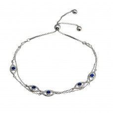 Wholesale Sterling Silver 925 Rhodium Toned Plated Multi Chain Evil Eye Blue CZ Lariat Bracelet - GMB00070
