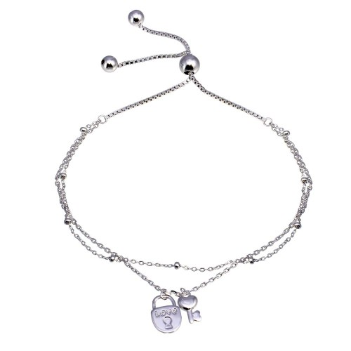 Wholesale Sterling Silver 925 Rhodium Plated Layered Lock and Key Chain Lariat Bracelet - GMB00071