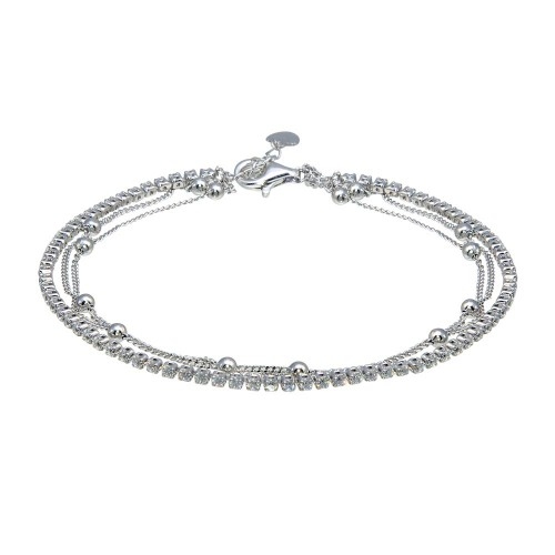 Wholesale Sterling Silver 925 Rhodium Plated Layered Bead Chain Adjustable Bracelet - GMB00072