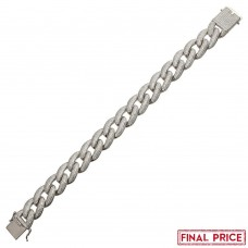 Wholesale Sterling Silver 925 Rhodium Plated CZ Encrusted Miami Cuban Link Bracelet 16.0mm - GMB00073