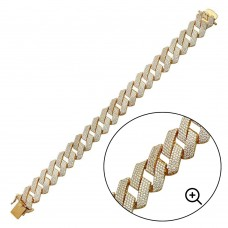 Wholesale Sterling Silver 925 Gold Plated CZ Encrusted Square Miami Cuban Link Bracelet 17.0mm - GMB00074GP
