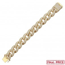 Wholesale Sterling Silver 925 Gold Plated CZ Encrusted Miami Cuban Link Bracelet 20.3mm - GMB00078GP
