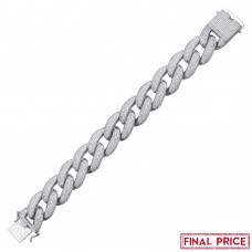 Wholesale Sterling Silver 925 Rhodium Plated CZ Encrusted Miami Cuban Link Bracelet 20.3mm - GMB00078