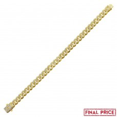 Wholesale Sterling Silver 925 Gold Plated CZ Encrusted Miami Cuban Link Bracelet 9.5mm - GMB00084GP