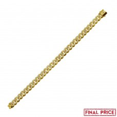Wholesale Sterling Silver 925 Gold Plated CZ Encrusted Miami Cuban Link  Plain Lock Bracelet 9mm - GMB00085GP