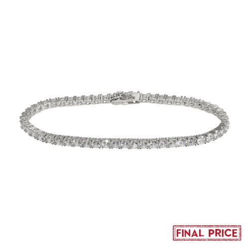 Wholesale Sterling Silver 925 Rhodium Plated Round CZ Tennis Bracelet 4mm - GMB00086