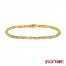 Wholesale Sterling Silver 925 Gold Plated Round CZ Tennis Bracelet 4mm - GMB00086GP