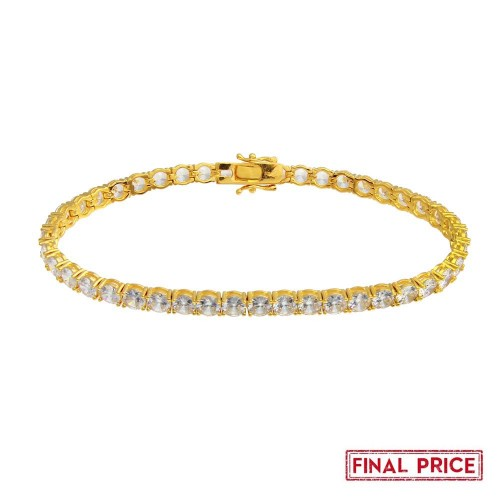 Wholesale Sterling Silver 925 Gold Plated Round CZ Tennis Bracelet 5mm - GMB00087GP
