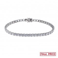 Wholesale Sterling Silver 925 Rhodium Plated Round CZ Tennis Bracelet 5mm - GMB00087