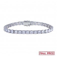 Wholesale Sterling Silver 925 Rhodium Plated Round CZ Tennis Bracelet 6mm - GMB00088