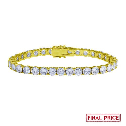 Wholesale Sterling Silver 925 Gold Plated Round CZ Tennis Bracelet 6mm - GMB00088GP