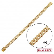 Wholesale Sterling Silver 925 Gold Plated CZ Encrusted Miami Cuban Link Bracelet 9.5mm - GMB00089GP