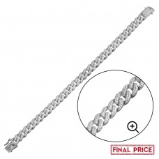 Wholesale Sterling Silver 925 Rhodium Plated CZ Encrusted Miami Cuban Link Bracelet 9.5mm - GMB00089