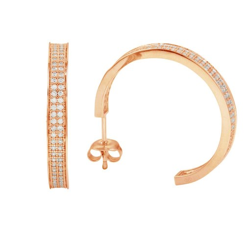 Wholesale Sterling Silver 925 Rose Gold Plated Channel Clear CZ Hoop Earring - GME00003RGP