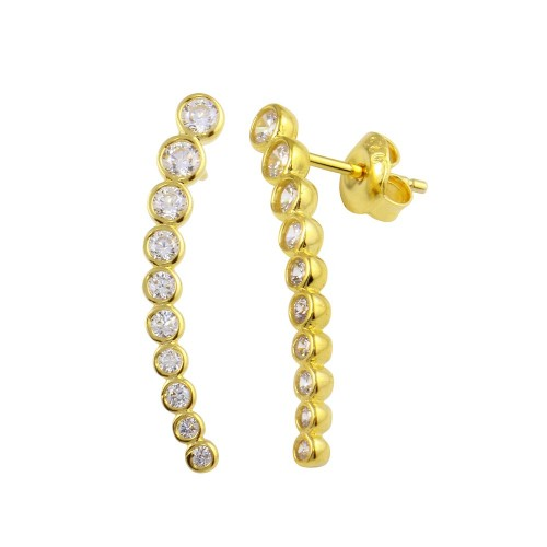 Wholesale Sterling Silver 925 Gold Plated Dangling Clear Earrings - GME00008B-GP