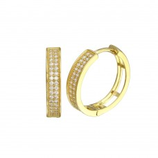 Wholesale Sterling Silver 925 Gold Plated Round Micro Pave CZ Hoop Earrings 18mm - GME00023GP