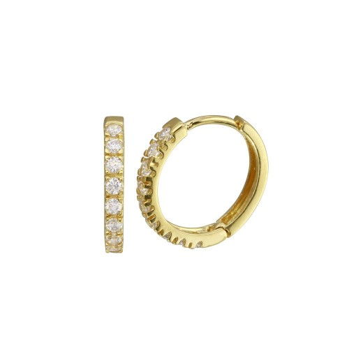 Wholesale Sterling Silver 925 Gold Plated Round CZ Hoop Earrings 15mm - GME00032GP