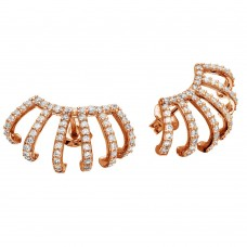 Wholesale Sterling Silver 925 Rose Gold Plated Earlobe Hugging CZ Earrings - GME00061RGP