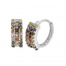 Wholesale Sterling Silver 925 Rhodium Plated Multi-Colored CZ Stone Huggie Earrings - GME00064RBC