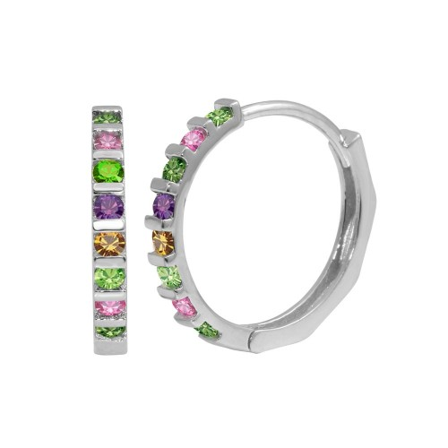 Wholesale Sterling Silver 925 Rhodium Plated Multi-Colored CZ Huggie Earrings - GME00063RBC