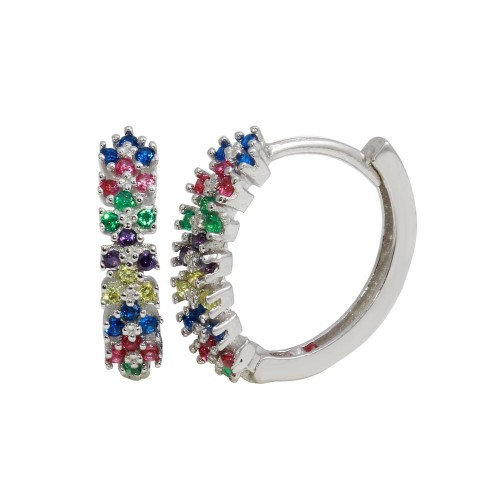 Wholesale Sterling Silver 925 Rhodium Plated Multi-Colored CZ Huggie Earrings - GME00062RBC
