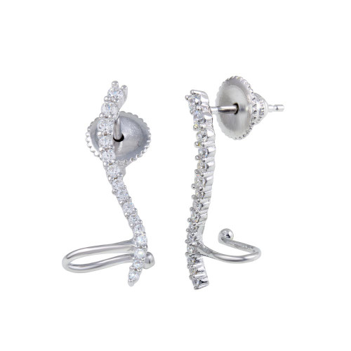 Wholesale Sterling Silver 925 Rhodium Plated Wave CZ Climbing Earrings - GME00067B