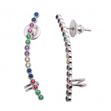 Wholesale Sterling Silver 925 Rhodium Plated Multi-Colored CZ Stone Climbing Earrings - GME00071RBC