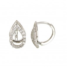 Wholesale Sterling Silver 925 Rhodium Open Teardrop CZ Huggie Earrings - GME00114