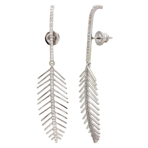 Wholesale Sterling Silver 925 Rhodium Plated Dangling Leaf Climbing Earrings with CZ - GME00115