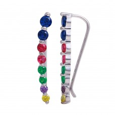 Wholesale Sterling Silver 925 Rhodium Plated Round Multi-Colored CZ Stone Climbing Earrings - GME00116RBC