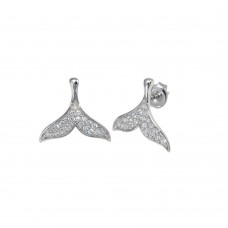 Wholesale Sterling Silver 925 Rhodium Plated CZ Whale Tail Stud Earrings - GME00117