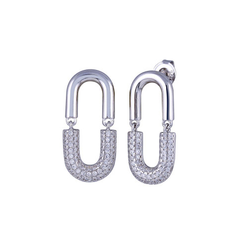 Wholesale Sterling Silver 925 Rhodium Plated Dangling Movable Link  Earrings - GME00119