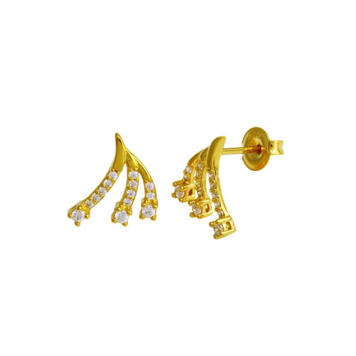 Wholesale Sterling Silver 925 Gold Plated 3 Wave CZ Stud Earrings - GME00120GP