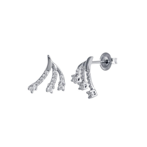 Wholesale Sterling Silver 925 Rhodium Plated 3 Wave CZ Stud Earrings - GME00120