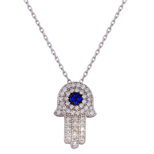 Wholesale Sterling Silver 925 Rhodium Plated CZ Hamsa Necklace - GMN00004