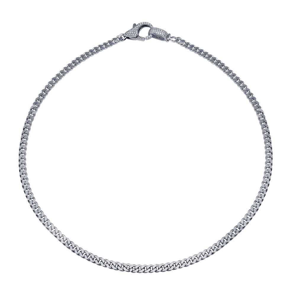 Wholesale Sterling Silver 925 Rhodium Plated  CZ Lobster Clasp Cuban Chain Necklace - GMN00190