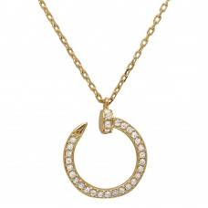 Wholesale Sterling Silver 925 Gold Plated Round Nail Pendant Necklace - GMN00021GP