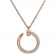 Wholesale Sterling Silver 925 Rose Gold Plated Round Nail Pendant Necklace - GMN00021RGP