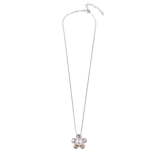 Wholesale Sterling Silver 925 Rhodium Plated Pearl Flower Necklace - GMN00033
