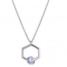 Wholesale Sterling Silver 925 Rhodium Plated Hexagon Pendant Necklace with CZ - GMN00034