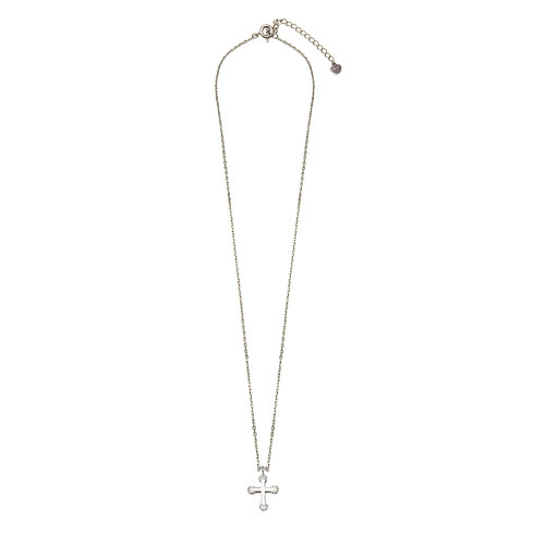 Wholesale Sterling Silver 925 Rhodium Plated Mini Cross Pendant Necklace with CZ - GMN00035