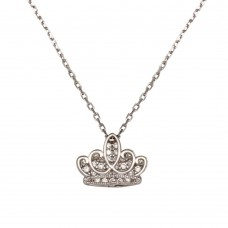 Sterling Silver Rhodium Plated Clear CZ Crown Necklace - GMN00036