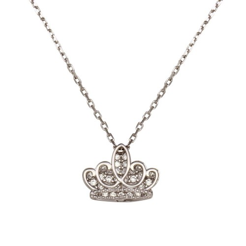 Wholesale Sterling Silver 925 Rhodium Plated Clear CZ Crown Necklace - GMN00036APR