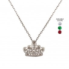 Wholesale Sterling Silver 925 Rhodium Plated CZ Crown Necklace - GMN00036
