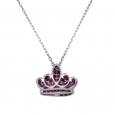 Wholesale Sterling Silver 925 Rhodium Plated Red CZ Crown Necklace - GMN00036MAY