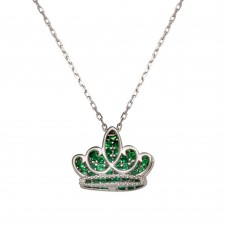 Sterling Silver Rhodium Plated Green CZ Crown Necklace - GMN00036MAY
