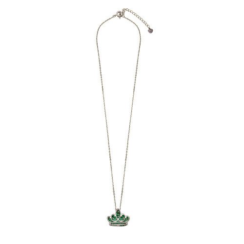 Wholesale Sterling Silver 925 Rhodium Plated Green CZ Crown Necklace - GMN00036MAY