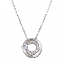 Wholesale Sterling Silver 925 Rhodium Plated Open Circle Pendant Necklace with CZ - GMN00037