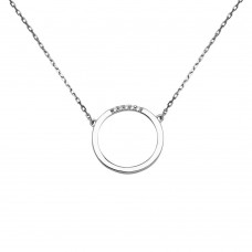 Sterling Silver Rhodium Plated Circle Pendant with CZ - GMN00038