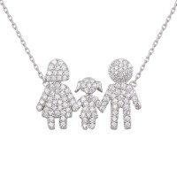 Wholesale Sterling Silver 925 Rhodium Plated Daughter and Parents Family Necklace - GMN00039